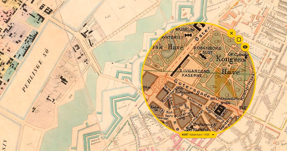 På historisk Atlas kan du holde forskellige kort ind over hinanden med den såkaldte tidslup.