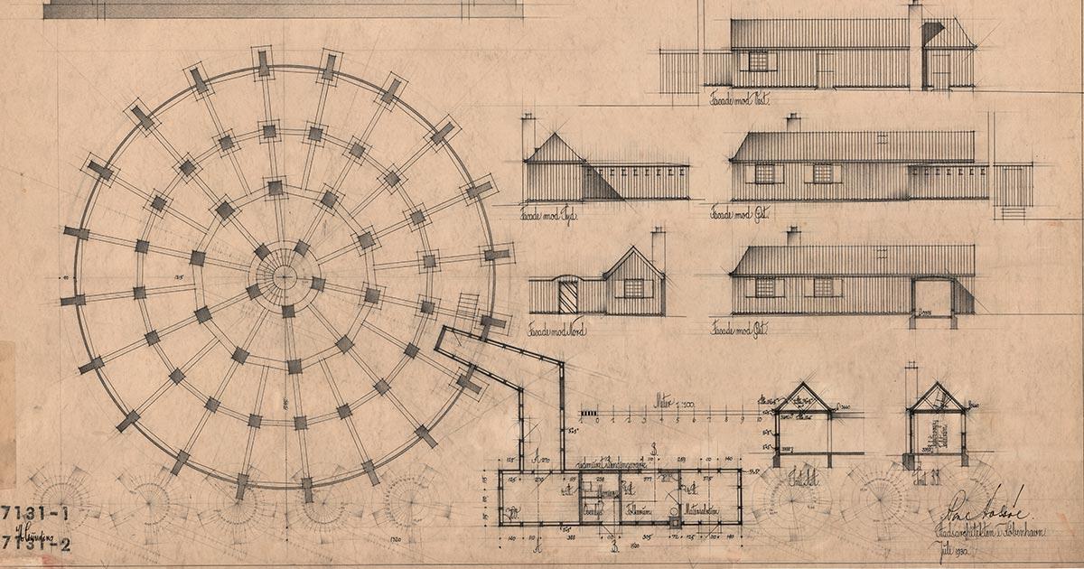 Udsnit af tegning af vandtårnet i Brønshøj opført 1928-29 af stadsarkitekt Poul Holsøe og arkitekt Ib Lunding.