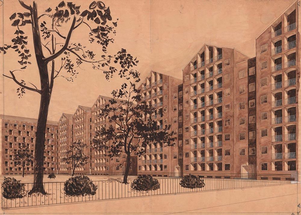"""Bebyggelsen omkring """"squaren"""". Bebyggelsen er tegnet af arkitekterne Kay Fisker, C. F. Møller og Svenn Eske Kristensen, der oprindeligt forestillede sig den åbne plads udformet i stil med Place des Vosges i Paris. Firemandsudvalget foreslog Adelgade afbrudt således, at den store plads kun blev gennemskåret af Dronningens Tværgade, men forslaget blev afvist. Tegningen viser et en del af bebyggelsen med det åbne pladsareal i en parklignende udformning. Stadsarkitektens samling i Københavns Stadsarkiv."""