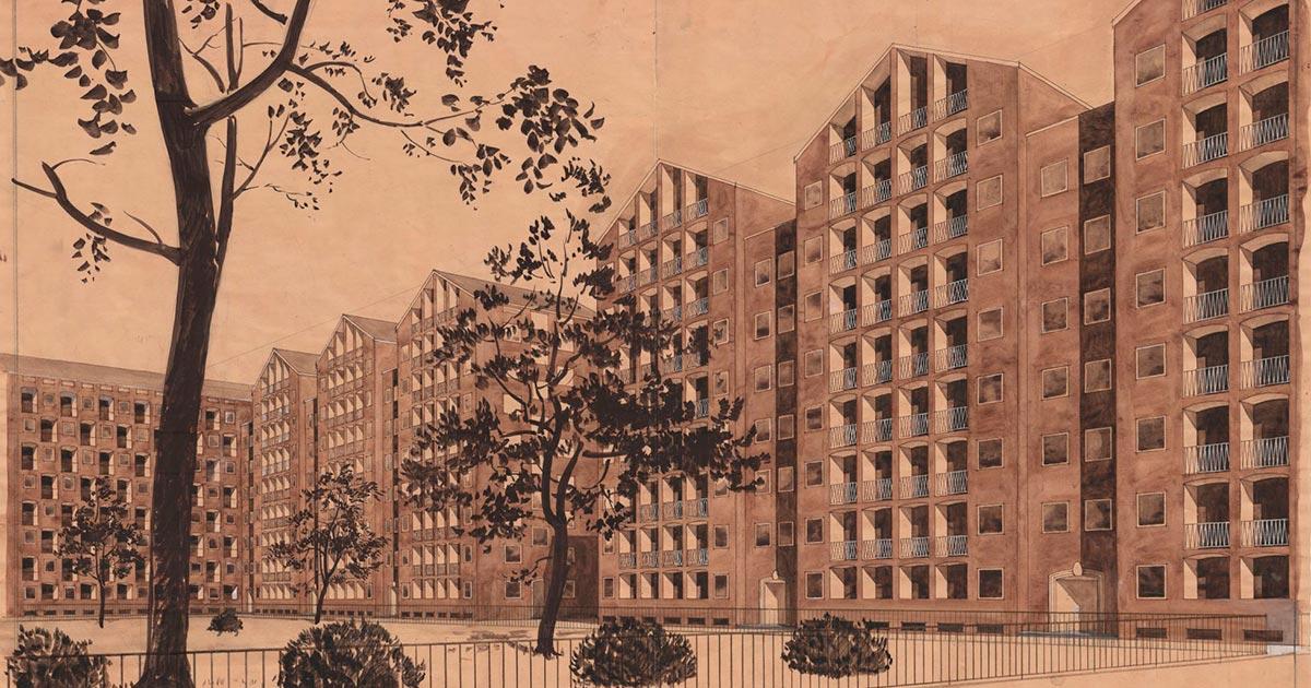 Bebyggelsen i Adelgade-Borgergades er tegnet af arkitekterne Kay Fisker, C. F. Møller og Svenn Eske Kristensen. Stadsarkitektens samling i Københavns Stadsarkiv.
