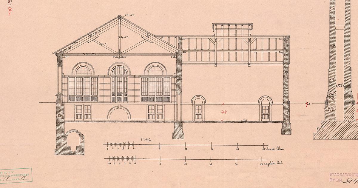 Kloakpumpestation i Præstøgade, tegnet af Ludvig Fenger, 1893-94, Stadsarkitektens tegningssamling bevaret i Københavns Stadsarkiv.
