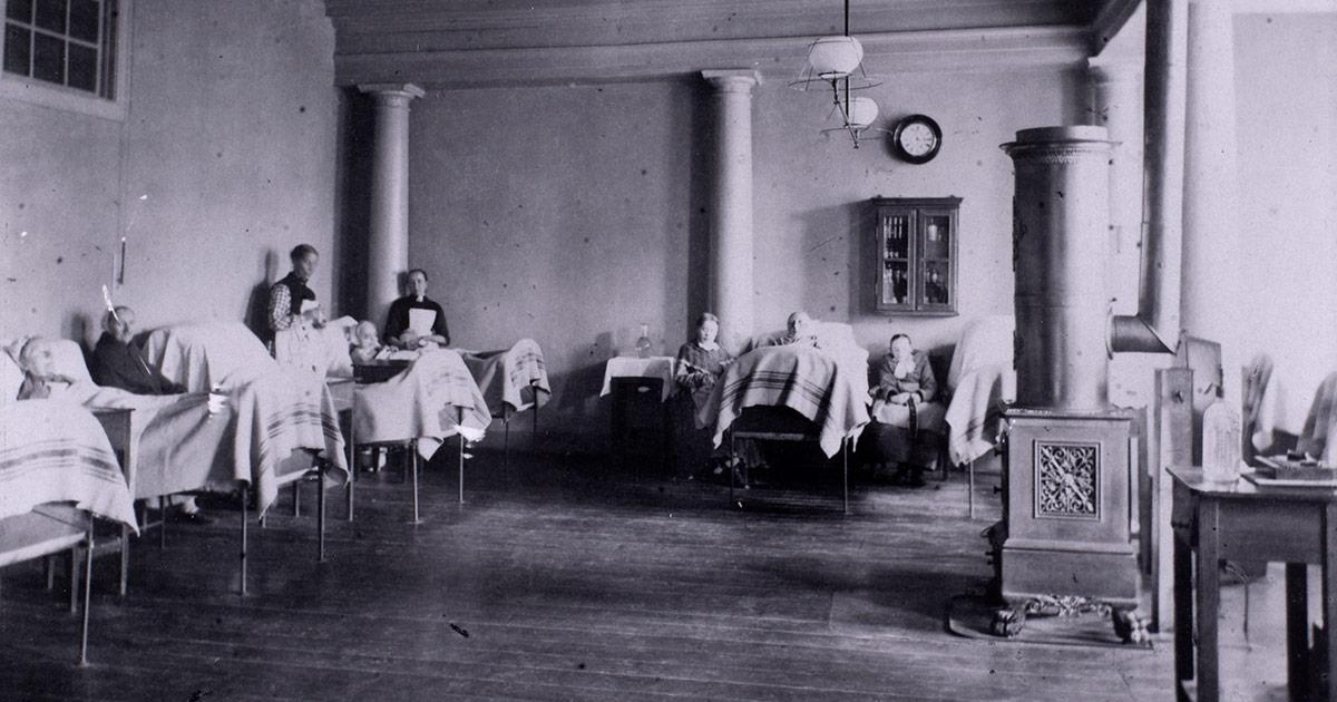 Sygestue fra Almindelig Hospital, 1885. Foto: Ukendt fotograf, Københavns Museum