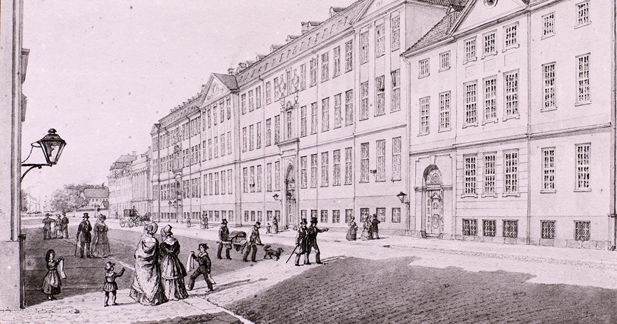 Almindelig Hospital i Amaliegade tegnet af Fattig-Holm i 1848, Københavns Museum