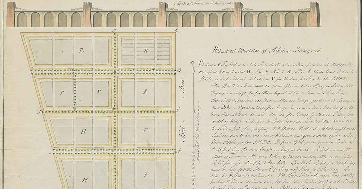 Udsnit af opstalt af muren og grundtegning af den nye Assistens Kirkegård på Nørrebro, 1800. Københavns Stadsarkivs kort- og tegningssamling