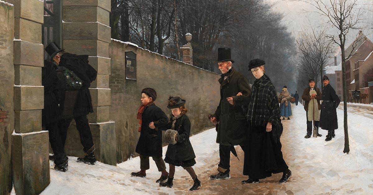 Udsnit af 'En begravelse', 1883. Maler: Frants Henningsen, SMK