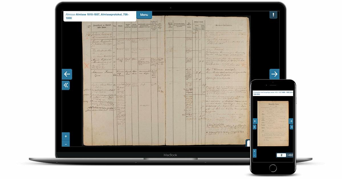 Kildeviserens brugergrænseflade på desktop og mobil