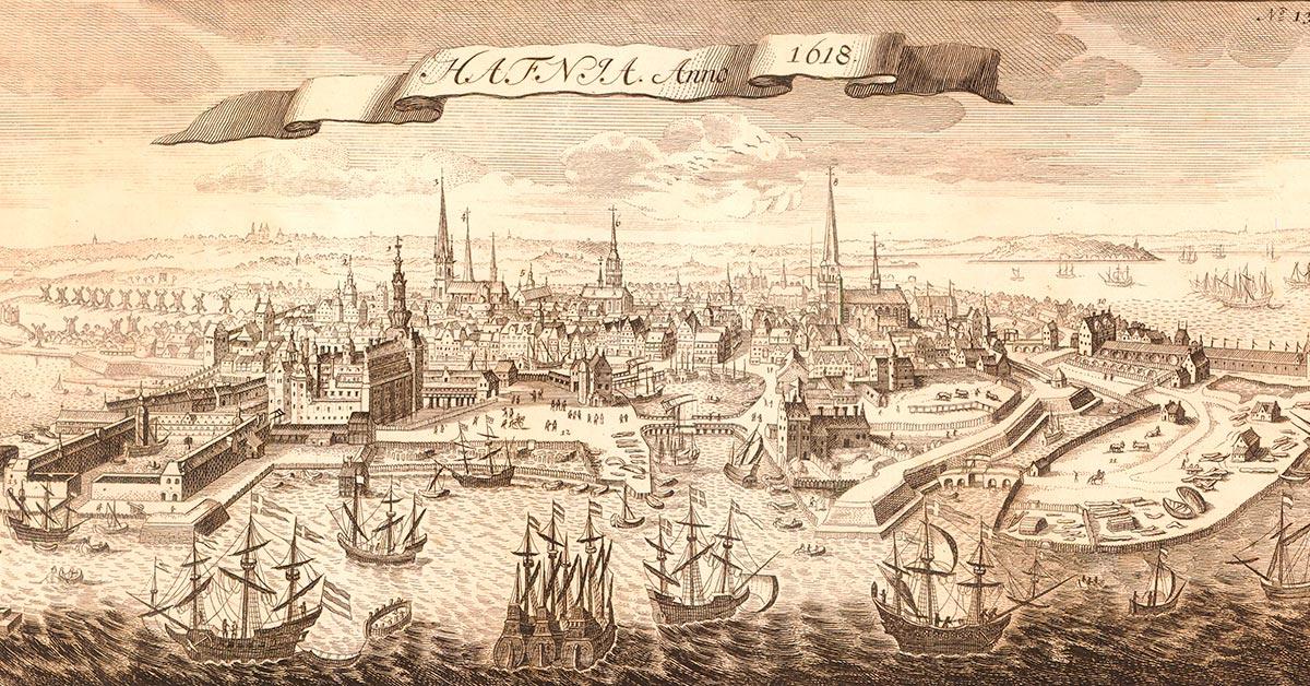 København set fra vandet, 1611. Stik af Clemendt de Longhe efter van Wicks maleri. Københavns Stadsarkivs kort- og tegningssamling