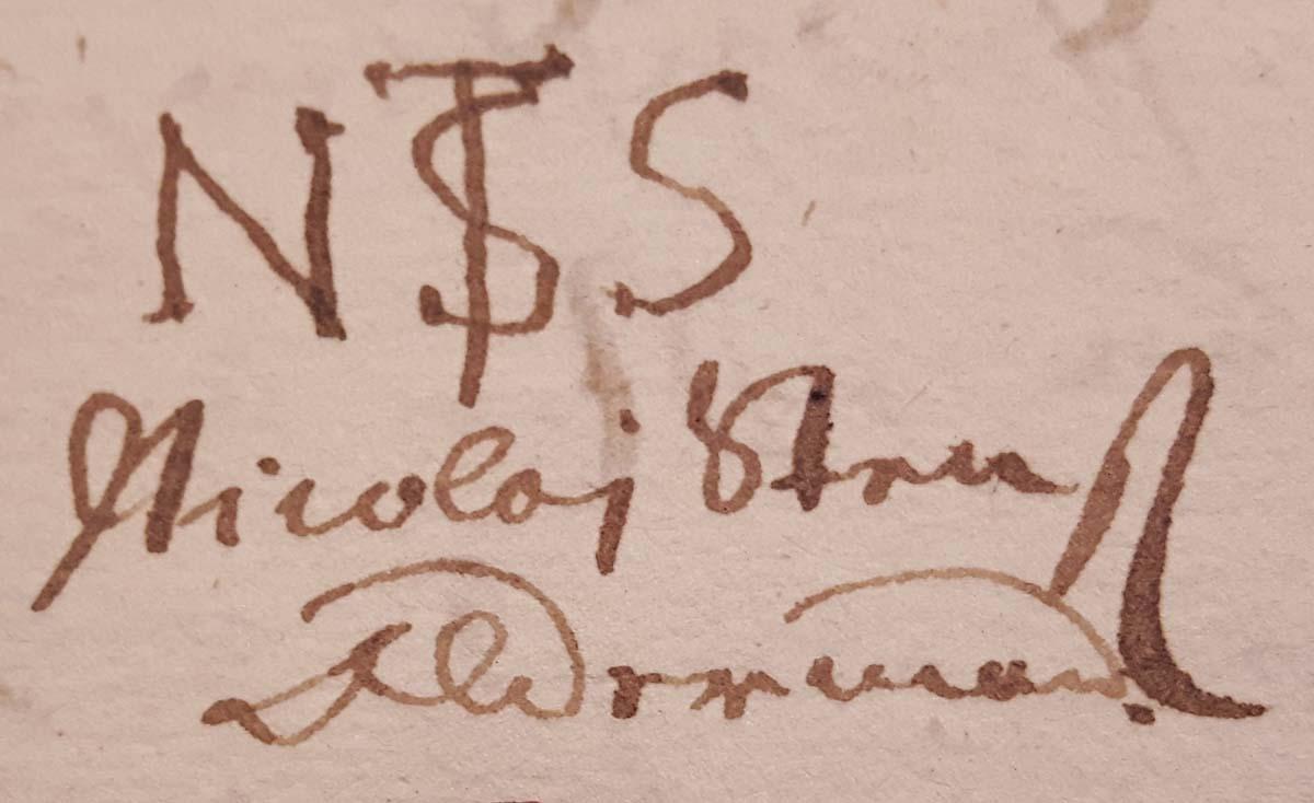 """Oldermand i Bagerlavet Nicolaj Steensens bomærke """"N ST S"""", 1677."""