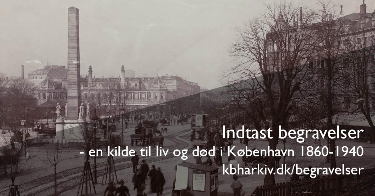 På billedet står: Indtast begravelser - en kilde til liv og død i København