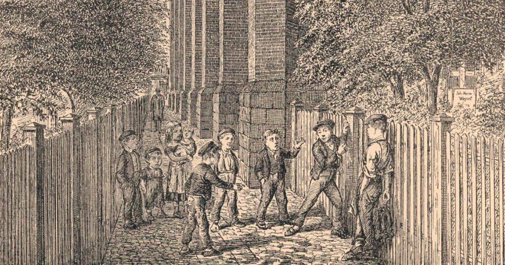 Byens gader og smøger var børnenes foretrukne legepladser. Her i Trinitatis Kirkegang. Illustration: Peter Klæstrup: Det forsvundne København, 1877.