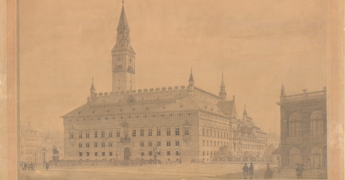 Arkitekt Nyrop vandt konkurrencen om at tegne og bygge byens nye rådhus i slutningen af 1800-tallet. Dette er hans forslag til, hvordan den kommende bygning til borgerne skulle se ud. 1890. Foto: Fotograf ukendt, Københavns Stadsarkiv