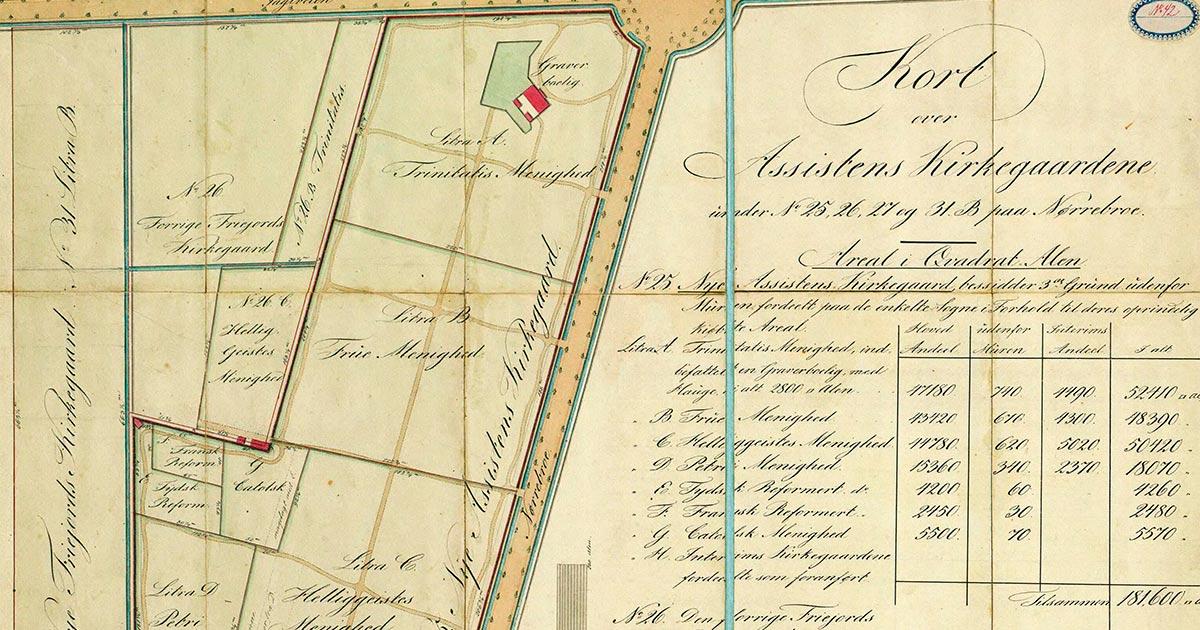 Udsnit af kort over Assistens kirkegård 1830. Det Kongelige Bibliotek
