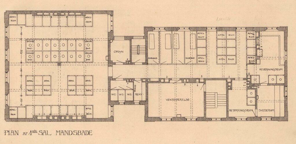 Plan af mandeafdelingen på 1. sal. Her er dobbelt så mange brusebade i forhold til antallet på kvindeafdelingen. Foto: Københavns Stadsarkiv
