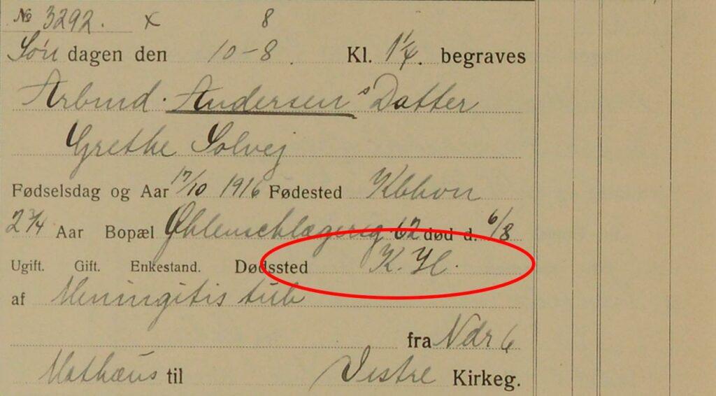 Døde på K.H., Som er en forkortelse for Kommunehospitalet.
