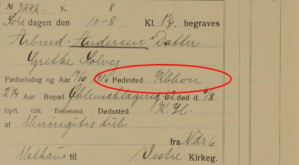 Fødested bliver først registreret i begravelsesprotokollerne fra april 1914. Fra 1930 er protokollerne fortrykt som på dette billede.