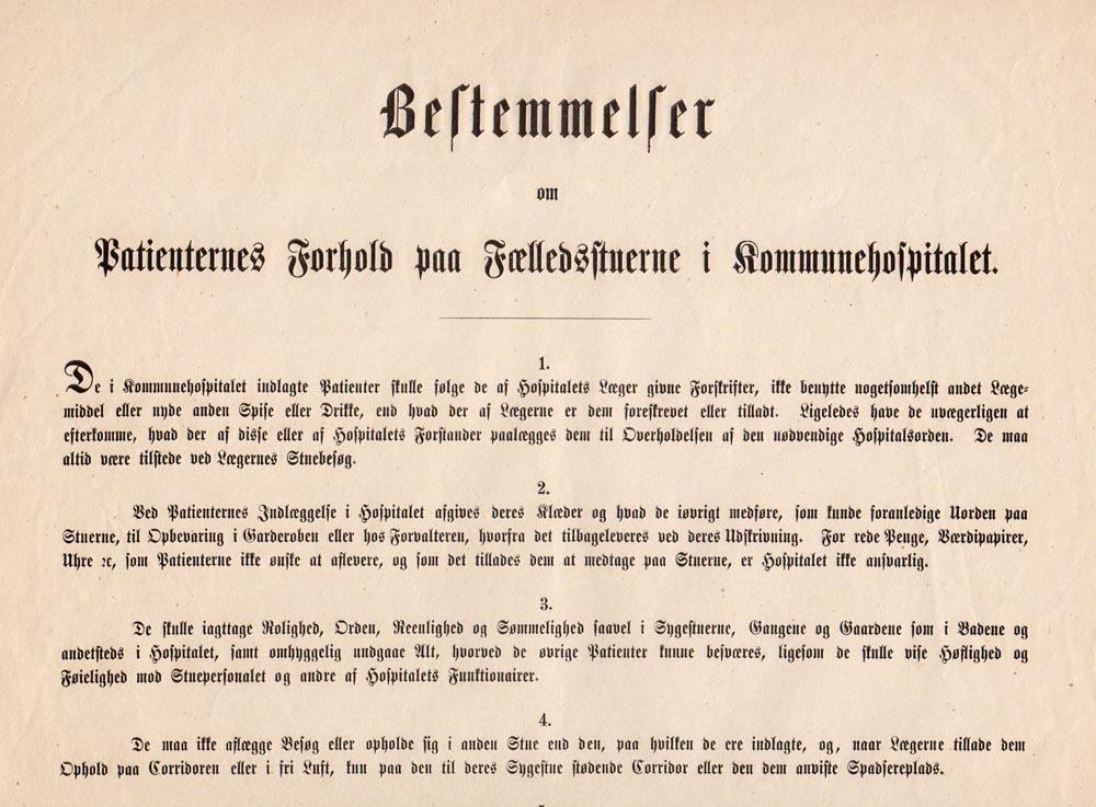 Regler for fællesstuerne vedtaget i august 1863.