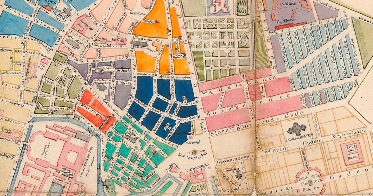 Udsnit af kort fra 1769, der viser Københavns kvarterer markeret med forskellige farver. Kort- og tegningssamlingen, Københavns Stadsarkiv