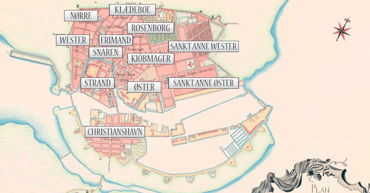 Oversigt over de 12 kvarter på Geddes kort