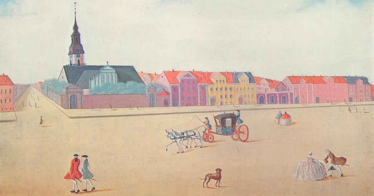 Gadebillede med hestevogn og fornemme personer. Maleri af I. Rach og H. Eegberg 1749, Nationalmuseet
