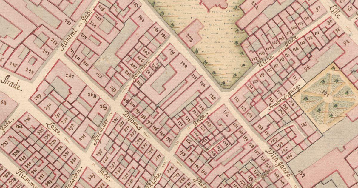 Udsnit af kort over Øster kvarter fra 1757 med angivne matrikelnumre. Københavns Stadsarkivs kort- og tegningssamling