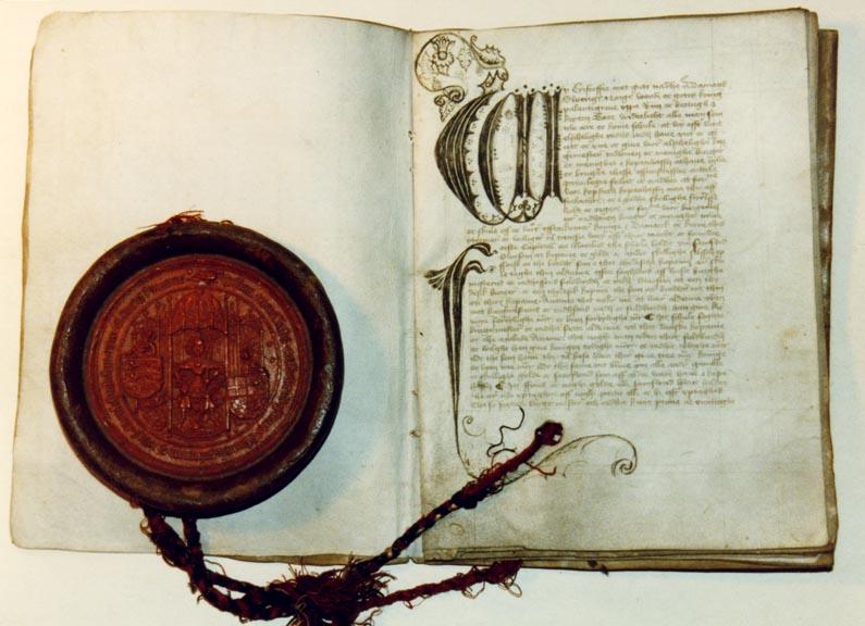 Christoffer af Bayern gav i sin stadsret fra 1443 byens styre ret til en stadskælder – eller værtshus vil vi sige i dag – i rådhuset. Foto: Københavns Stadsarkiv.