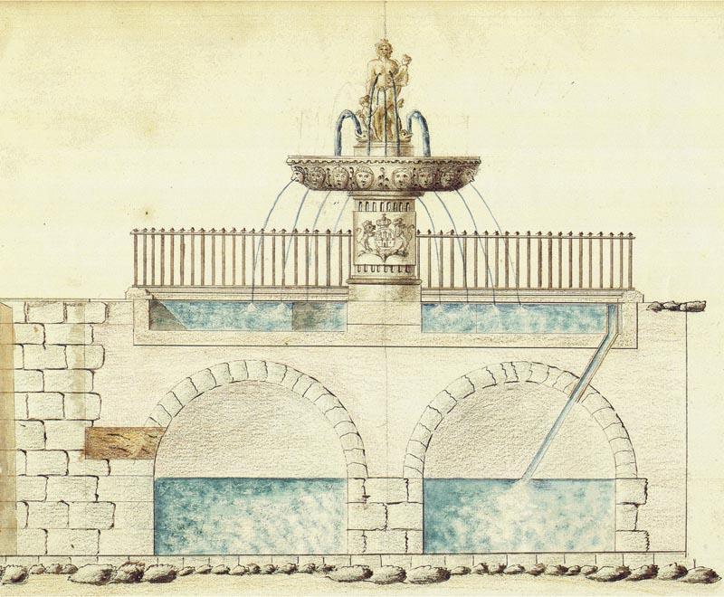 Tegning af Caritasspringvandet, bestilt af borgmester Hans Christopher Hersleb formodentlig i 1770'erne. Foto: Københavns Stadsarkiv.