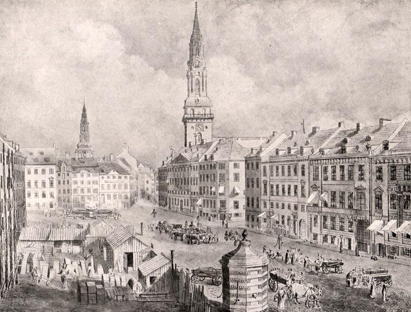 Byens femte rådhus under opførelse, mens torvehandlen foregår på Nytorv. Illustration: København før og nu.
