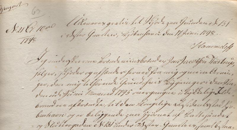 Uddrag af dokument fra sagen om drengen Johan Nicolaj. Foto: Københavns Stadsarkiv.