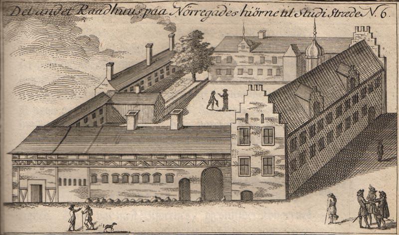 Ingen ved, hvordan det andet rådhus i København så ud. Dette er den bygning, som teologen Erik Pontoppidan forestillede sig. Illustration: Origines Hafnienses 1760.