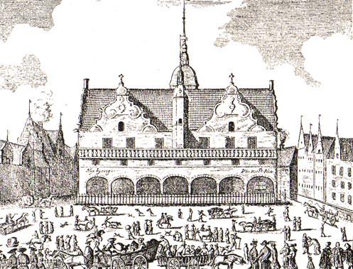 Bagsiden af det tredje rådhus ud mod det nyanlagte Nytorv. Bemærk at det permanente skafot endnu ikke er opført. Illustration: København før og nu, 1917.