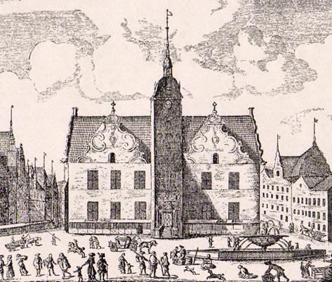 Byens tredje rådhus ud mod Gammeltorv efter Christian 4.'s ombygning. Foto: Københavns Stadsarkiv.