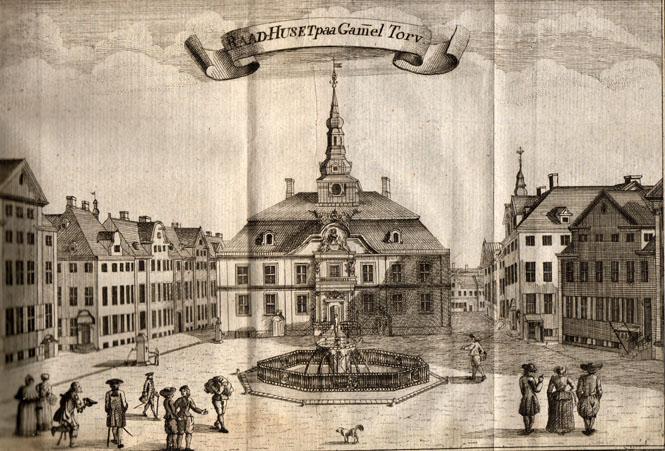 Byens fjerde rådhus opført efter branden i 1728. Illustration: Erik Pontoppidan: Den danske Atlas, 1704.