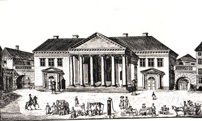Det nye Råd- og Domhus står færdig. I forgrunden ses en af byens gamle vandposter.
