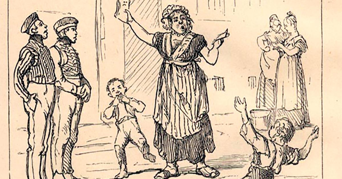 Visesangerinden tiltrækker sig gadedrengenes opmærksomhed. Illustration: Peter Klæstrup: Det forsvundne København, 1877.