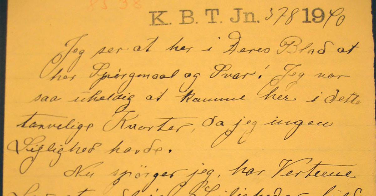"""Uddrag af brev fra 1910. Her omtales besøg i """"dette tarvelige Kvarter"""", som er lig Vesterbro."""