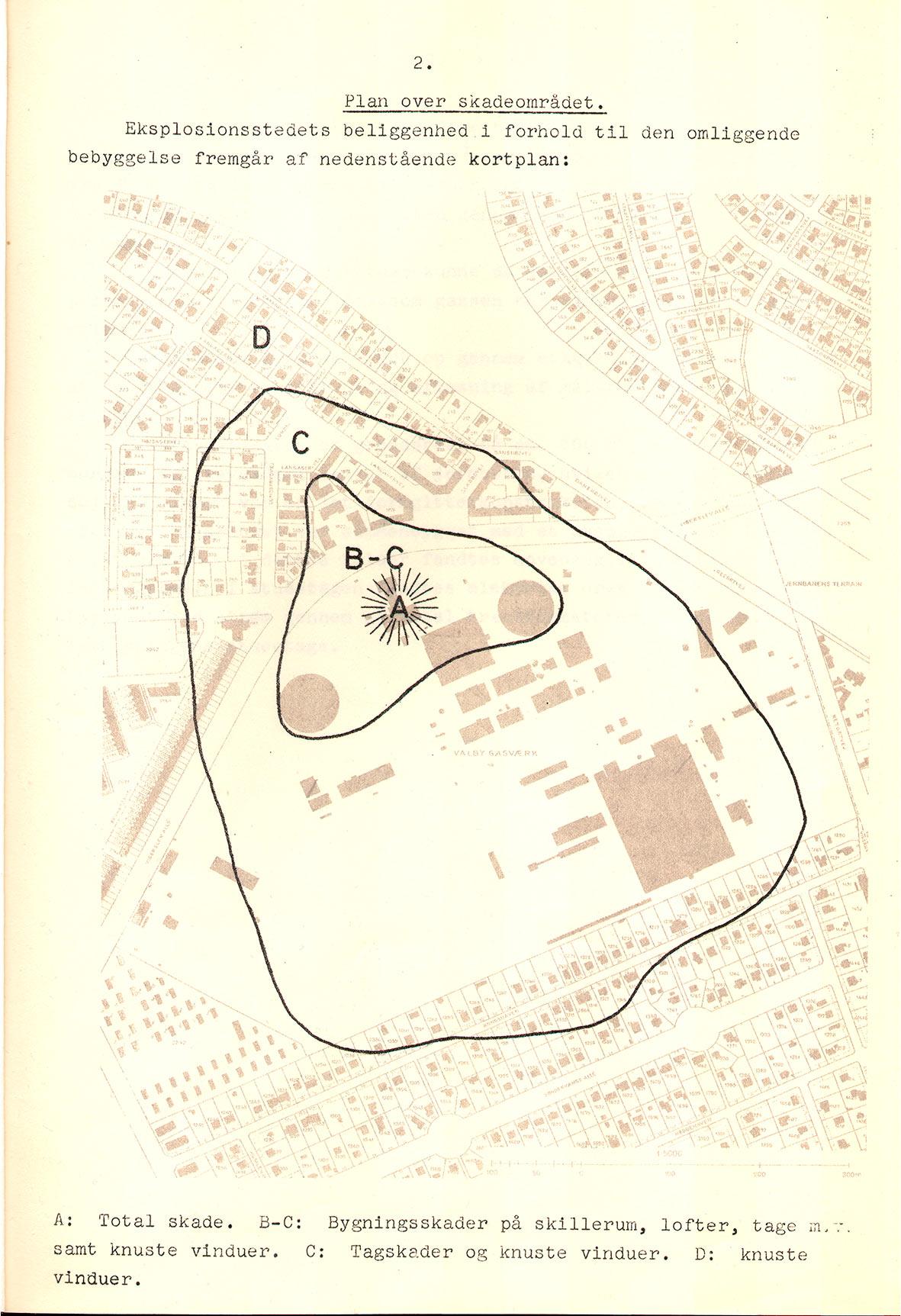 Plan over det område, der blev ramt af gasværkseksplosionen. Foto: Brandvæsenets arkiv. Københavns Stadsarkiv.