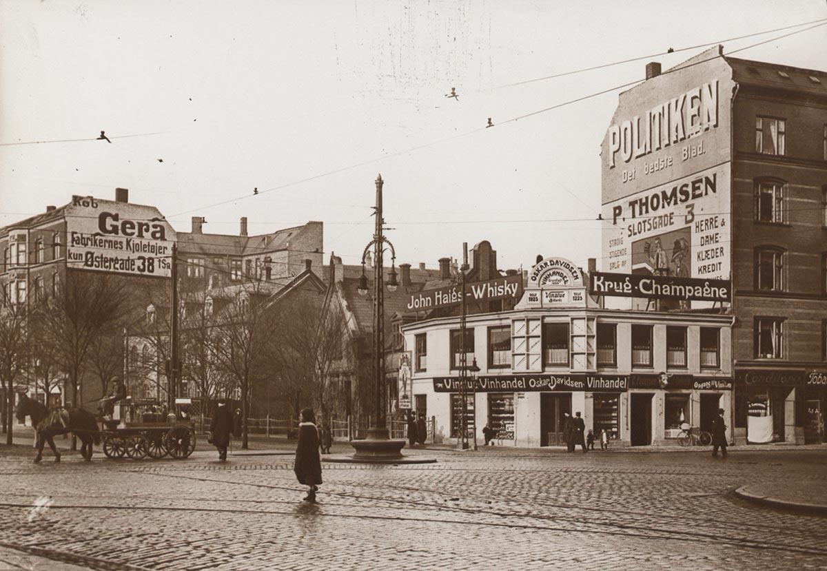 Åboulevard og Griffenfeldtsgade i mange år. Foto 1913: Ukendt fotograf, Københavns Museum
