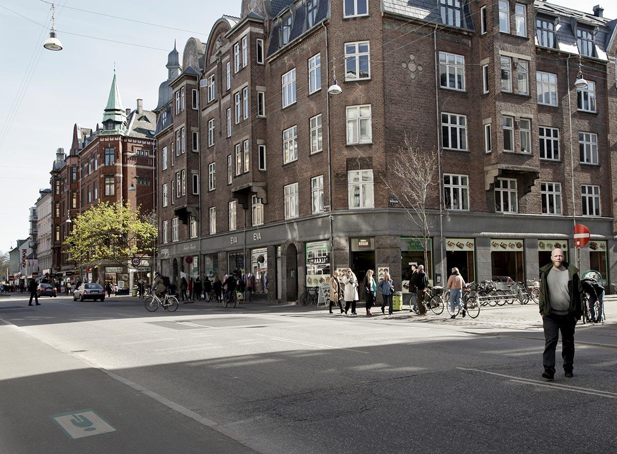 Nørrebrogade ved hjørnet af Holtegade. Set mod Nørrebros Runddel. Foto 2014: Mads Neuhard, Københavns Stadsarkiv