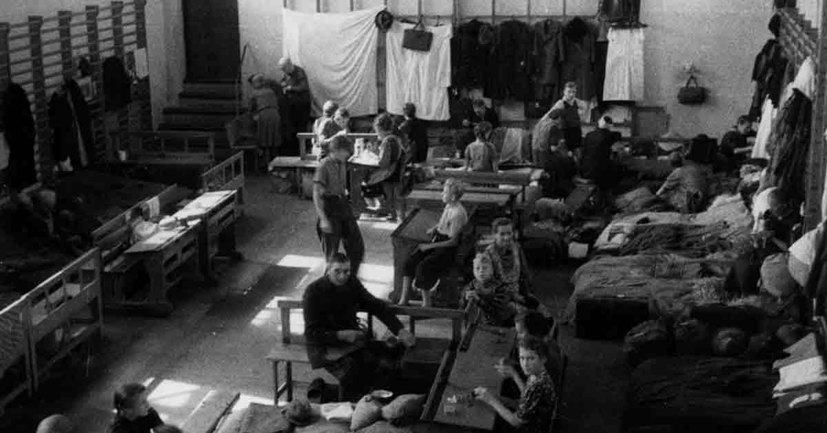Tyske flygtninge indkvarteret på Husum Skole. Gymnastiksal med senge, borde, børn, voksne og tøj hængt på ribberne. 1946. Foto: Fotograf ukendt, Københavns Stadsarkiv.