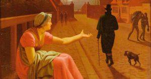 """Udsnit af C.W. Eckersbergs maleri """"En falden piges historie"""". År: 1808."""