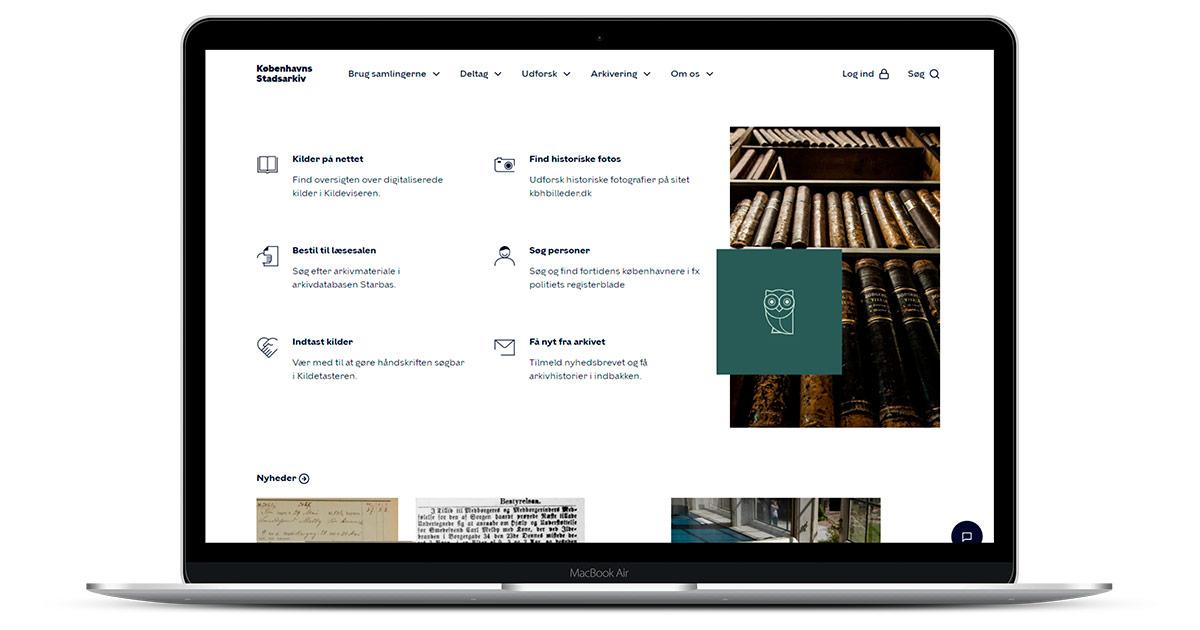 Laptop med forsiden af Københavns Stadsarkivs hjemmeside
