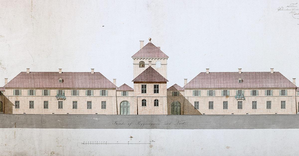 Forslag til nyt kurhus på Bistrupgård, Sankt Hans Hospital. Facade mod nord, 1853. Københavns Stadsarkivs kort- og tegningssamling