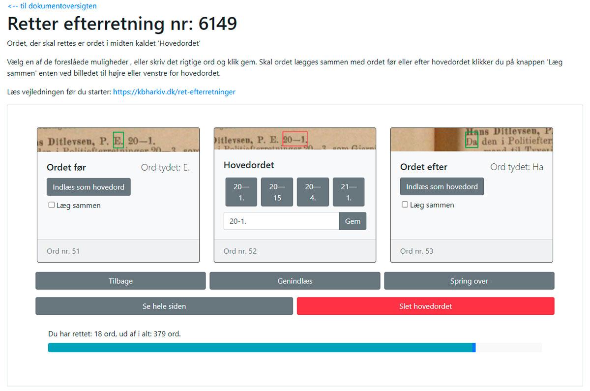 Skærmbillede fra CorrectOCR: Tal - Alt inden for den røde firkant indtastes som det står.