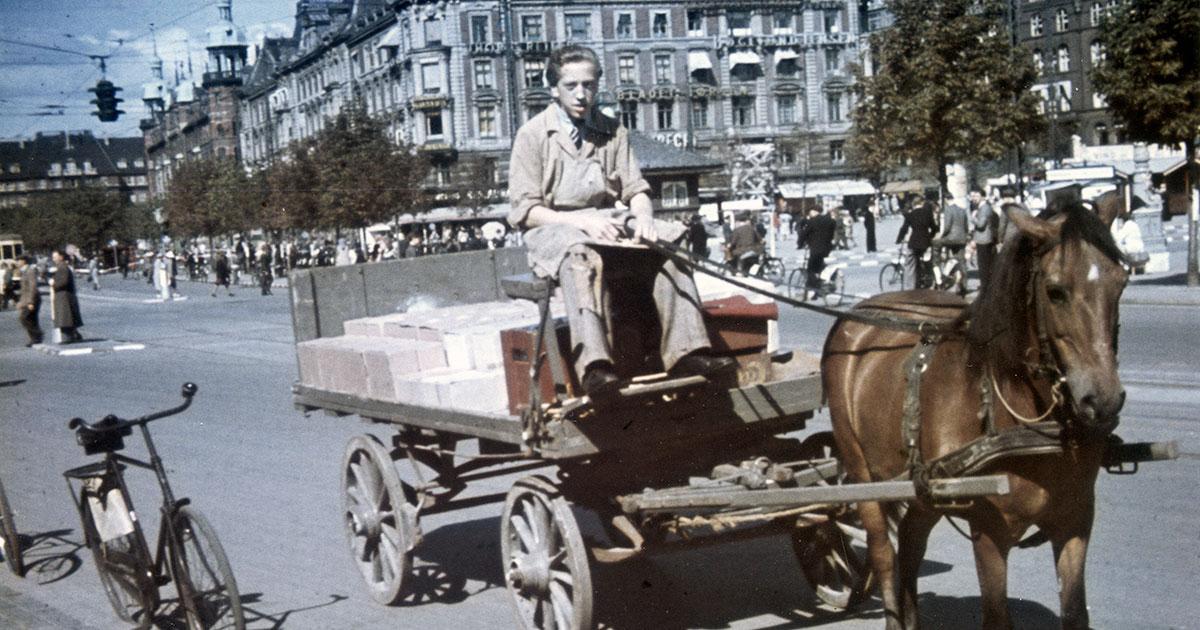 Krigen betød også rationering og varemangel. I stedet for benzin blev det nødvendigt med hestekræfter, når der skulle køres varer ud. Fotograf: Ukendt. 1943, Københavns Stadsarkiv.
