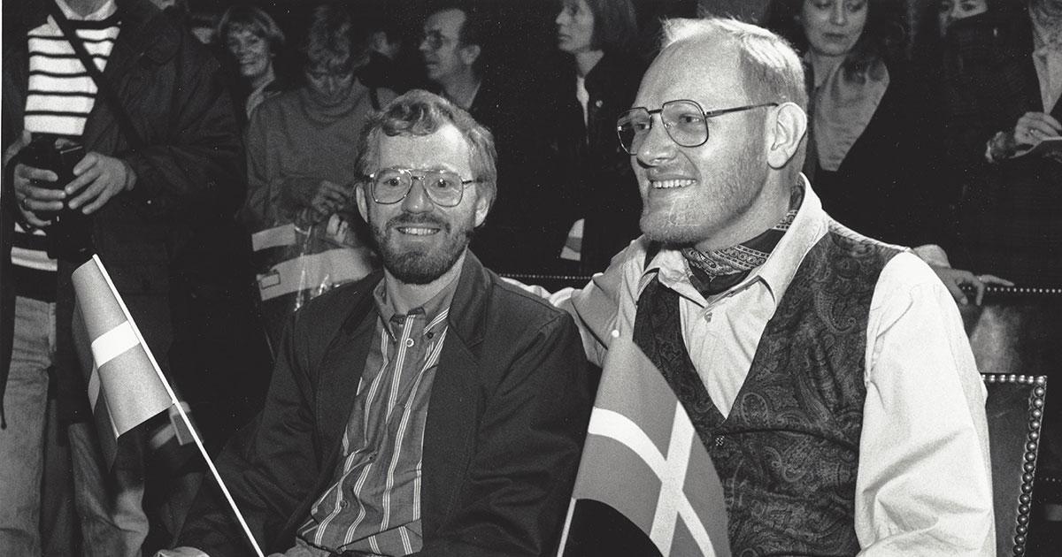 Karl Peder Pedersen og Ib Krog Larsen på Københavns Rådhus den 1. oktober 1989.