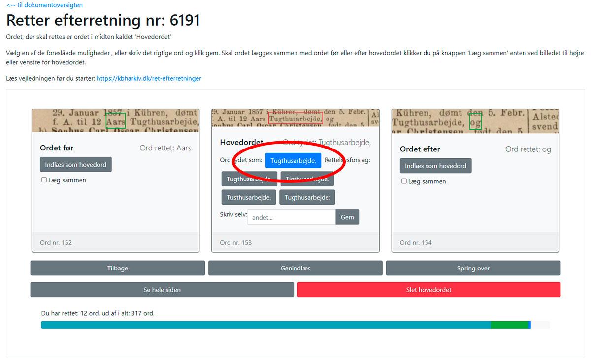 Skærmbillede fra correctOCR: Den blå knap viser det korrekte ord.