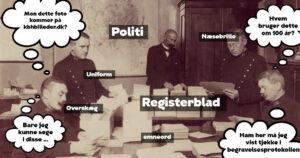 Historisk fotos med politifolk, tilført emneord og talebobler